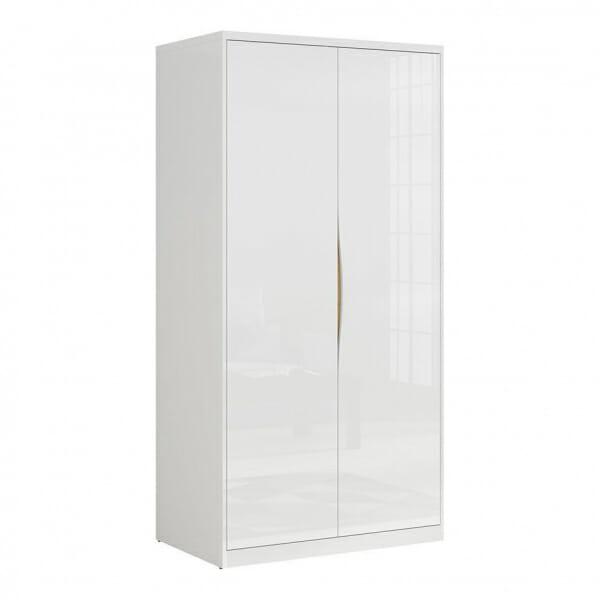 Модерен двукрилен гардероб в бял гланц Пори