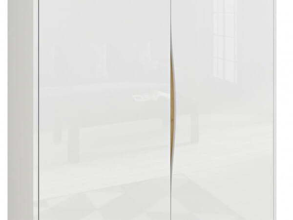 Модерен двукрилен гардероб в бял гланц Пори - детайл