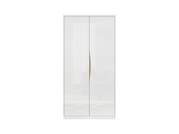Модерен двукрилен гардероб в бял гланц Пори - отпред
