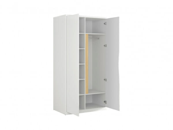 Модерен двукрилен гардероб в бял гланц Пори - разпределение