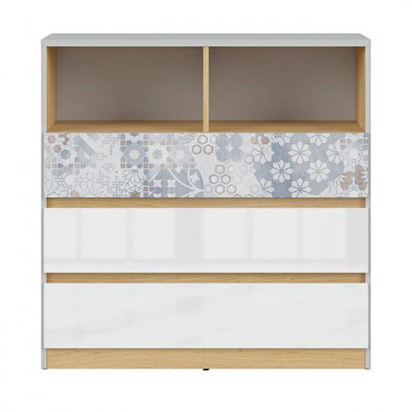 Модерен скрин с открит рафт Нанду - чекмедже с флорални детайли - отпред