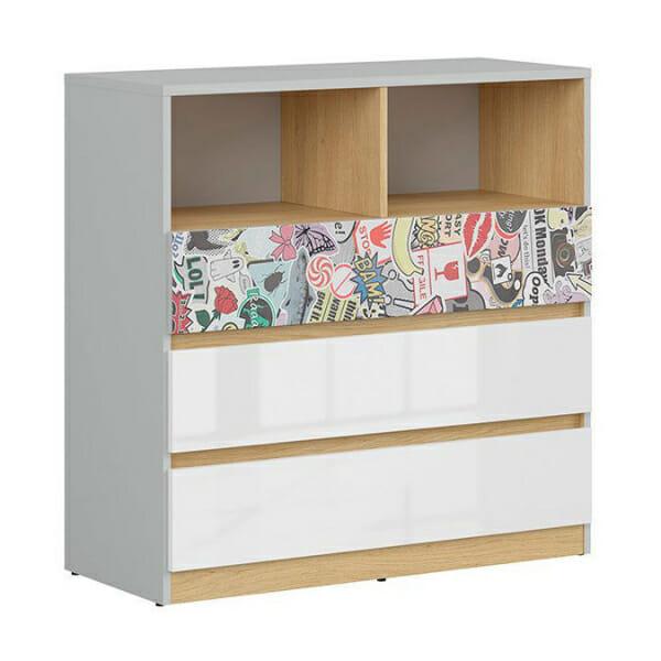 Модерен скрин с открит рафт Нанду - чекмедже с комикс