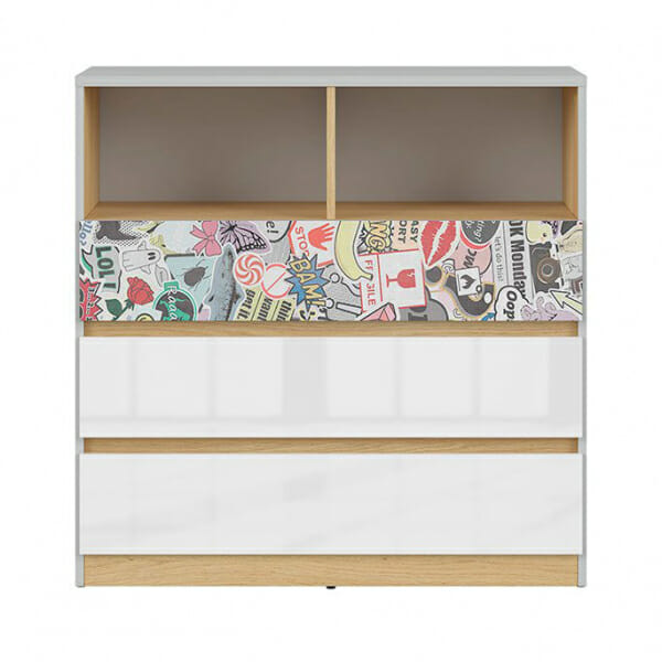 Модерен скрин с открит рафт Нанду - чекмедже с комикс - отпред