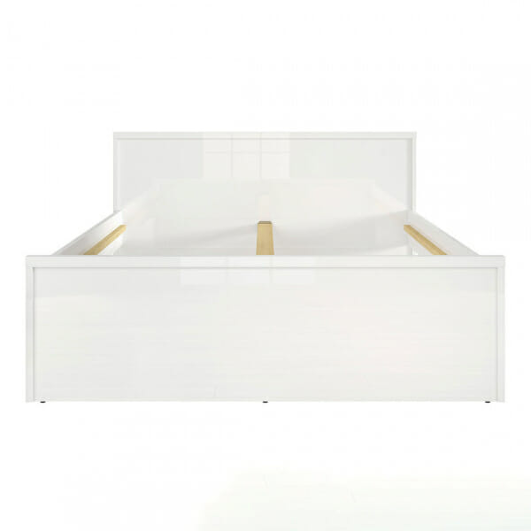 Модерно двойно легло в бял гланц Пори - размер 1 отпред