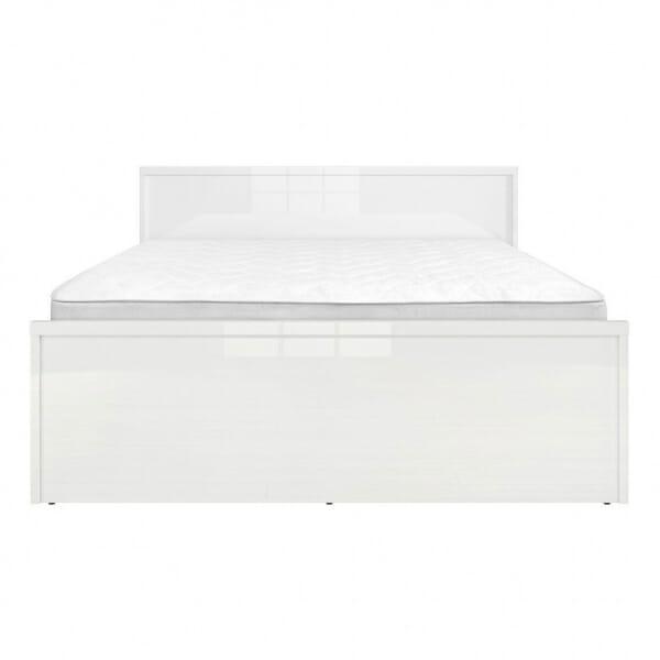 Модерно двойно легло в бял гланц Пори - размер 1 отпред с матрак