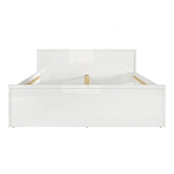 Модерно двойно легло в бял гланц Пори - размер 2 отпред