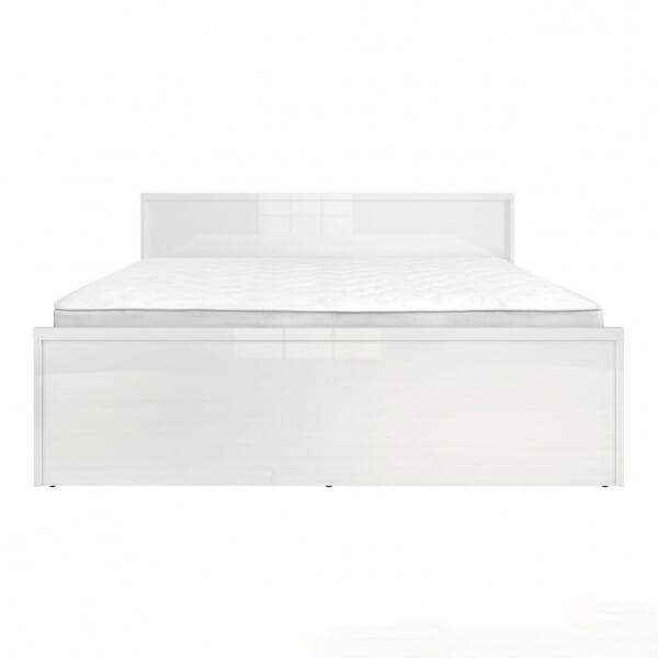 Модерно двойно легло в бял гланц Пори - размер 2 отпред с матрак
