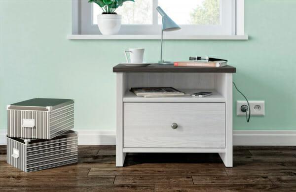 Нощно шкафче с бял дървесен цвят Порто - декор