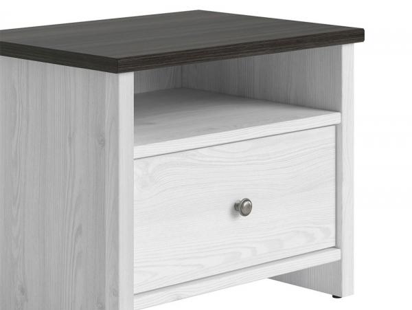 Нощно шкафче с бял дървесен цвят Порто - детайл