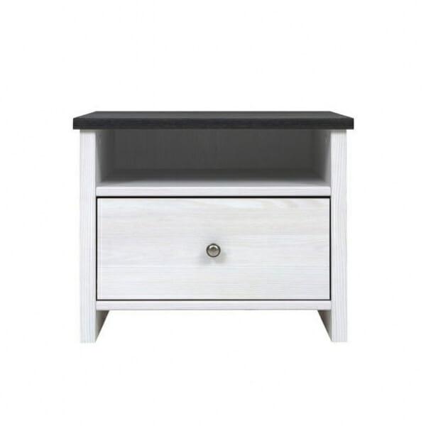 Нощно шкафче с бял дървесен цвят Порто - отпред