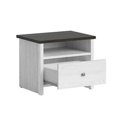Нощно шкафче с бял дървесен цвят Порто - разпределение