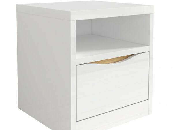 Нощно шкафче в бял гланц с дървесен детайл Пори - отблизо
