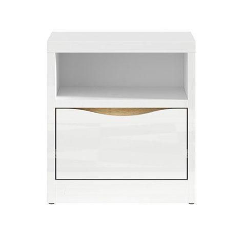 Нощно шкафче в бял гланц с дървесен детайл Пори - отпред