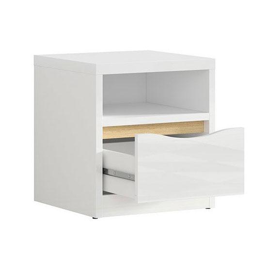 Нощно шкафче в бял гланц с дървесен детайл Пори - разпределение