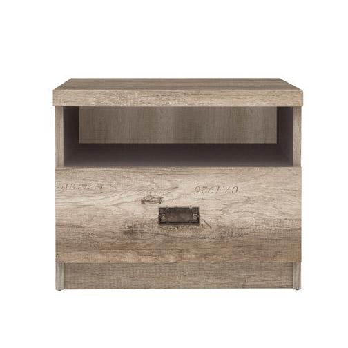 Нощно шкафче в тъмен дървесен цвят Малкълм - отпред