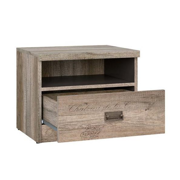 Нощно шкафче в тъмен дървесен цвят Малкълм - разпределение