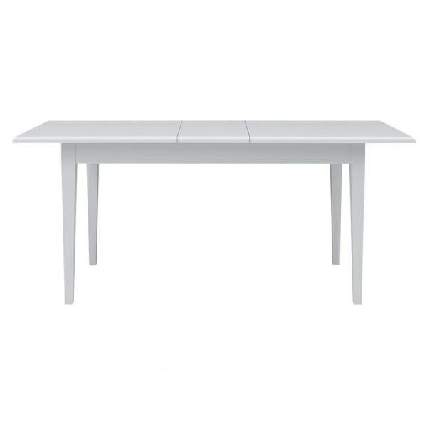 Разтегателна трапезна маса в бяло Иденто - разтегната отпред
