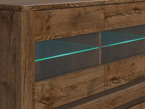 Широк шкаф със стъклена витрина и осветление Када - детайл