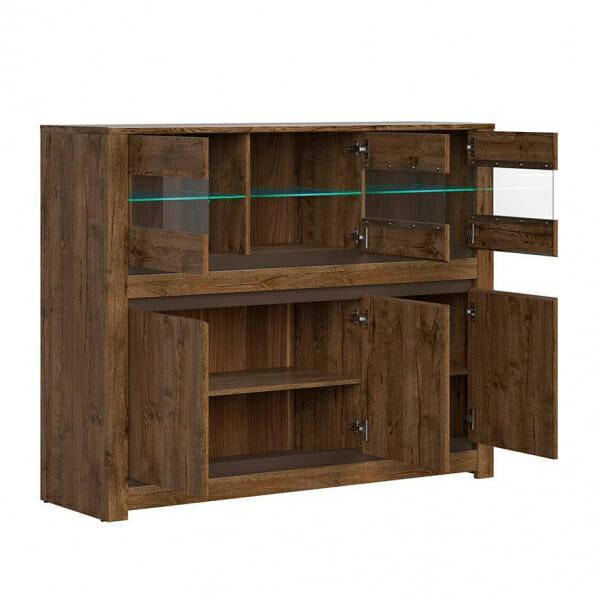 Широк шкаф със стъклена витрина и осветление Када - разпределение
