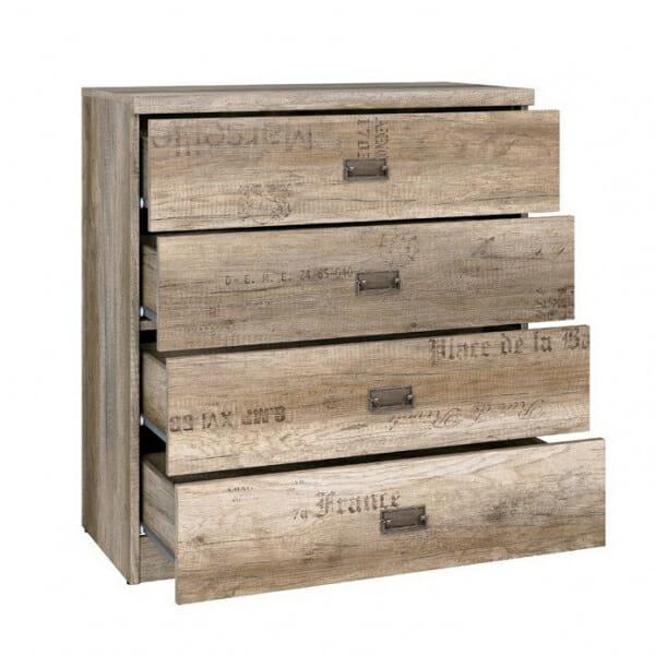Широк скрин с 4 чекмеджета Малкълм - разпределение