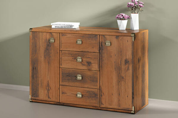 Шкаф с 2 вратички и 4 чекмеджета Индиана - дъб сутер - декор