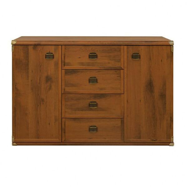 Шкаф с 2 вратички и 4 чекмеджета Индиана - дъб сутер - отпред
