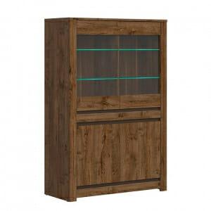 Шкаф витрина с осветление в дървесен цвят Када