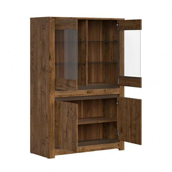 Шкаф витрина с осветление в дървесен цвят Када - разпределение
