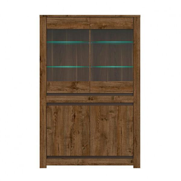 Шкаф витрина с осветление в дървесен цвят Када - отпред