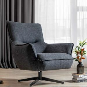 Сиво кресло с подлакътници и метална основа Sofi