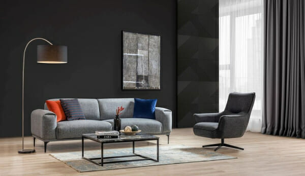 Сиво кресло с подлакътници и метална основа Sofi-интериор