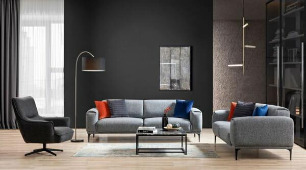 Двуместен диван с дамаска в сиво и метални крачета Sofi-примерна подредба