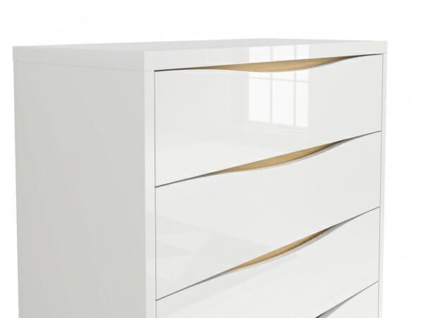 Скрин с 4 бели гланцирани чекмеджета Пори - детайл
