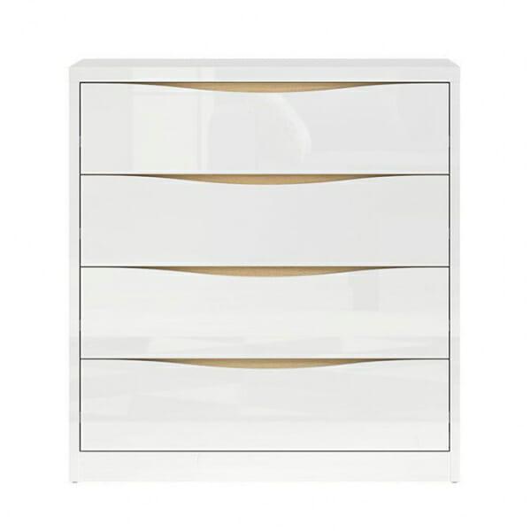 Скрин с 4 бели гланцирани чекмеджета Пори - отпред