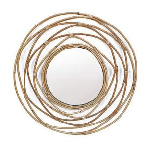 Стенно огледало с рамка от бамбукови пръчици