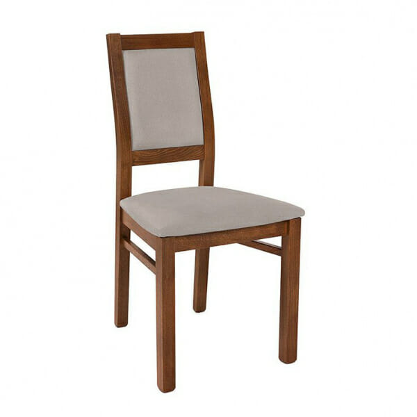 Трапезен стол от дърво със сива дамаска Када