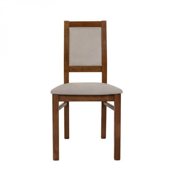 Трапезен стол от дърво със сива дамаска Када - отпред