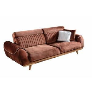 Триместен диван с дървени букови крачета Rino II-кафяв