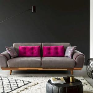 Триместен разтегателен диван в сив цвят и розов кант Rino I