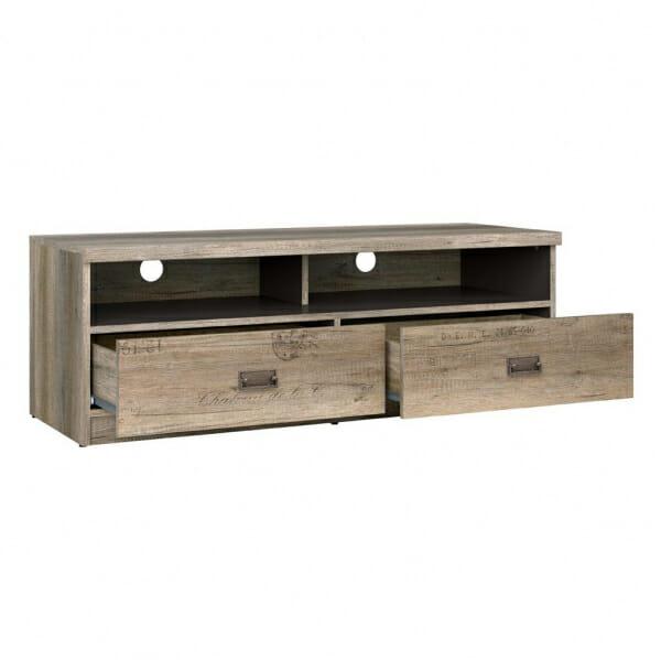 ТВ шкаф със старинен вид и надписи Малкълм - разпределение