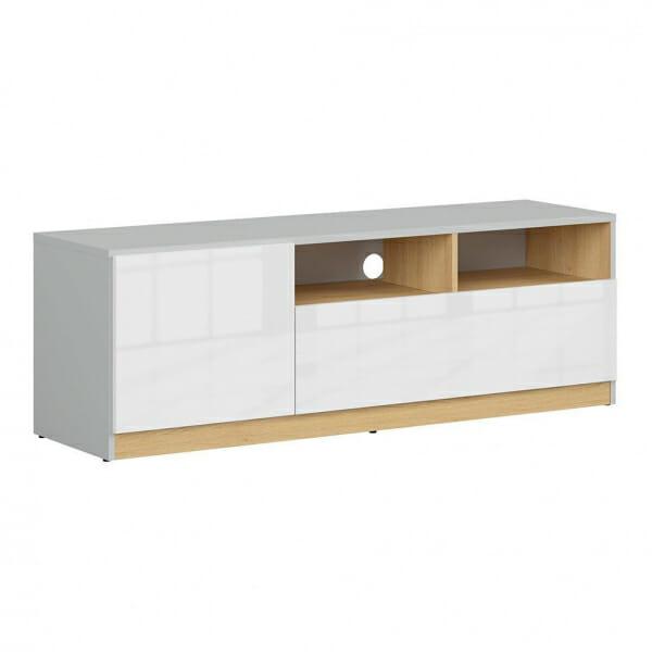 ТВ шкаф в бял гланц и сиво Нанду
