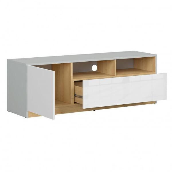 ТВ шкаф в бял гланц и сиво Нанду - разпределение