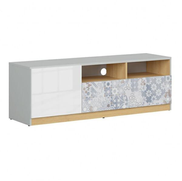 ТВ шкаф в бял гланц и сиво Нанду с флорални детайли