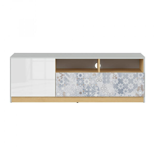 ТВ шкаф в бял гланц и сиво Нанду с флорални детайли - отпред