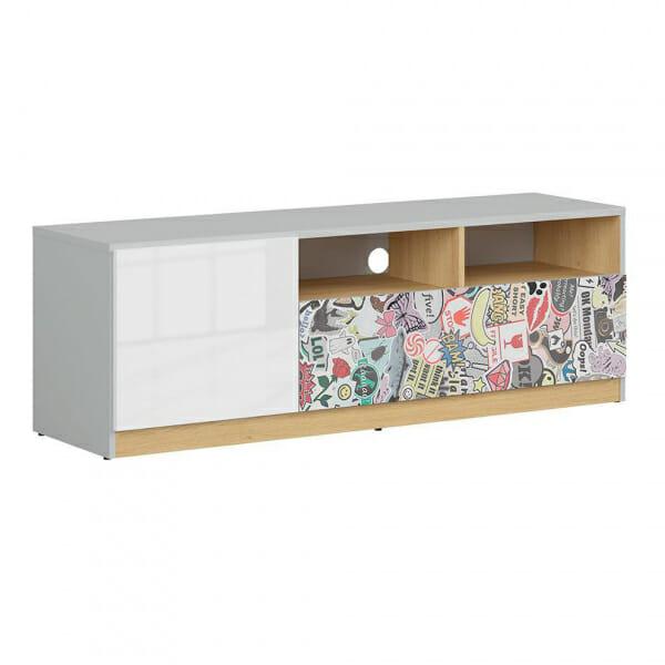 ТВ шкаф в бял гланц и сиво Нанду с комикс