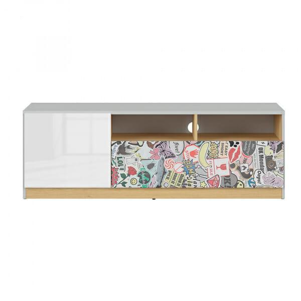 ТВ шкаф в бял гланц и сиво Нанду с комикс - отпред