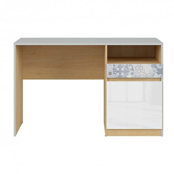 Учебно бюро с бял гланц и флорални мотиви Нанду - отпред