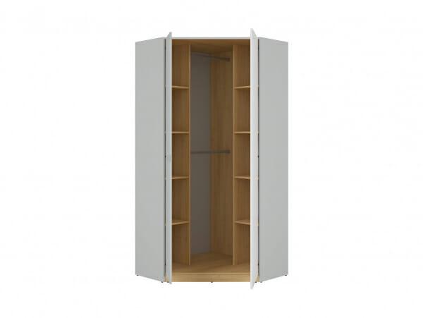 Ъглов гардероб с бял гланц и сиво Нанду - разпределение