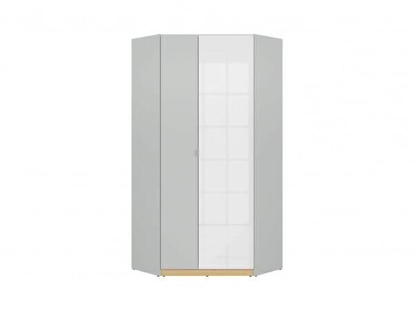 Ъглов гардероб с бял гланц и сиво Нанду - отпред