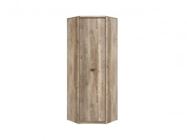Ъглов гардероб в дървесен цвят Малкълм - отпред